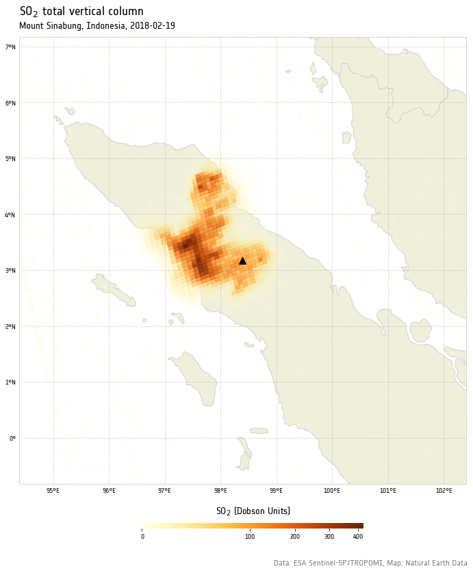 Mount Sinabung eruption as seen by Sentinel-5P   Space to Ground